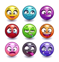 Funny colorful round faces set vector