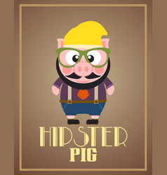 Funny hipster pig vector