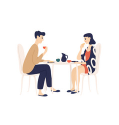 funny young man and woman sitting at table and vector image