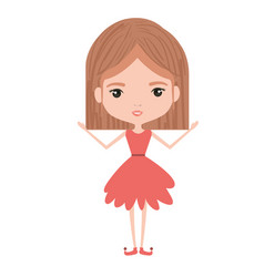 Girly fairy without wings and light brown mushroom vector