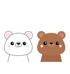 grizzly and white bear head face set pink cheeks vector image