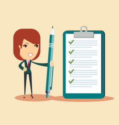 happy business woman holding a pen and looking at vector image
