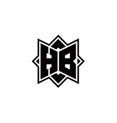 Hb monogram logo with square rotate style outline vector