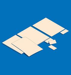 Isometric flat blank sheets vector