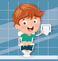 Kid at toilet vector