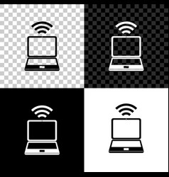 laptop and free wi-fi wireless connection icon vector image