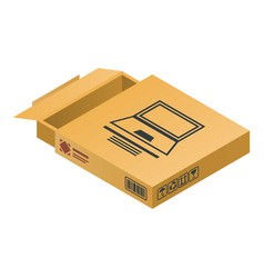 laptop delivery box icon isometric style vector image