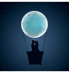 Lovers hot air balloon in moon form vector