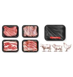 Meat food beef pork chicken legs black vector