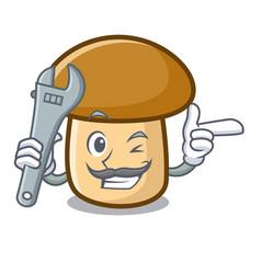 Mechanic porcini mushroom mascot cartoon vector