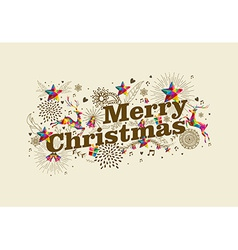 Merry Christmas vintage retro greeting card vector image