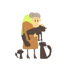Old Lady With Three Cats vector