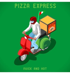 Pizza Delivery People Isometric vector image