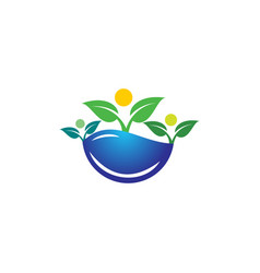 plants waterdrop concept wellness family care logo vector image