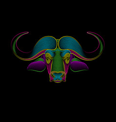 portrait a buffalo in psychedelic color vector image