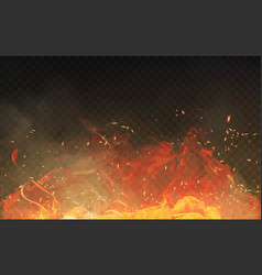 realistic isolated fire effect with smoke vector image