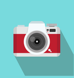 red camera flat style with long shadow vector image