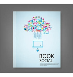Report cloud template design with social network vector