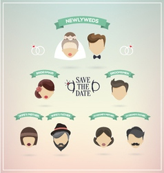 Retro set of wedding icons vector