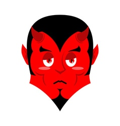 Sad Satan Sorrowful red devil Pessimistic demon vector