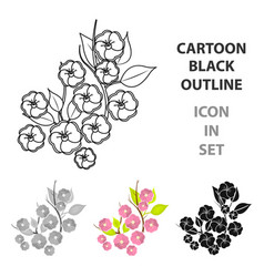 sakura flowers icon in cartoon style isolated on vector image