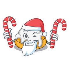 Santa with candy cinnamon roll mascot cartoon vector