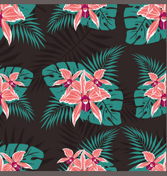 Seamless pattern with orchids 2 vector