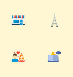 set of france icons flat style symbols with eiffel vector image