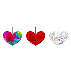 Set poly hearts vector image