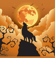 Silhouette Wolf howling at the moon vector