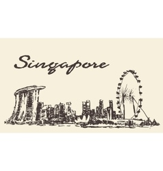 Singapore skyline drawn sketch vector image