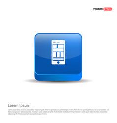smart phone icon - 3d blue button vector image