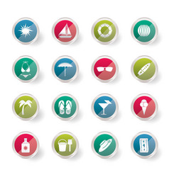 summer and holiday icons over colored background vector image