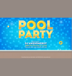 Summer party in pool invitation for event with vector