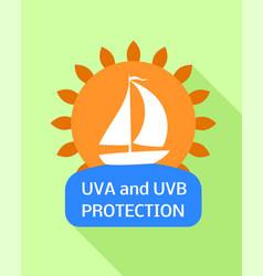 Sunscreen sea protection logo flat style vector
