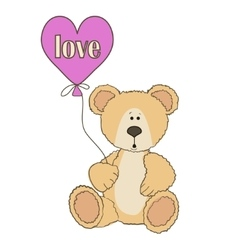 Teddy Bear is sitting with balloon vector image