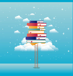text books with cloud and stair vector image