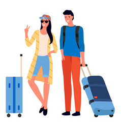 traveling people with luggage and bags vector image