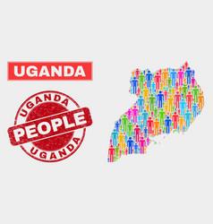 Uganda map population people and unclean watermark vector