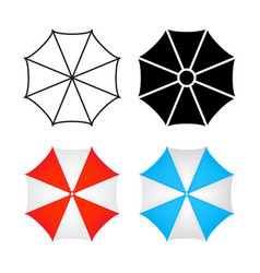 umbrella icon top view design isolated on white vector image