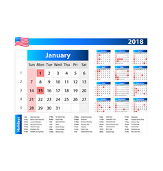 Usa calendar 2018 - official holidays and vector