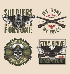 Vintage military colorful prints vector