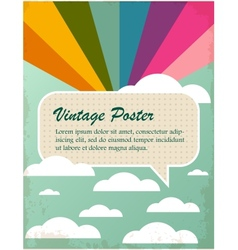 Vintage poster with rainbow and clouds vector