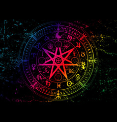 Wiccan symbol protection colorful mandala vector