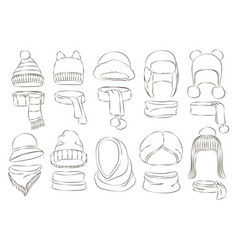 winter or autumn headwear collection vector image