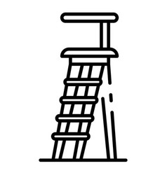 wood staircase icon outline style vector image