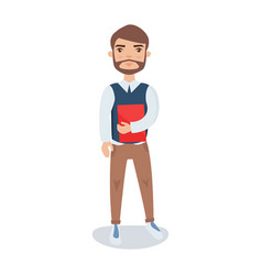 young bearded man standing with a book in his vector image