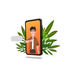 young man character on smartphone screen vector image