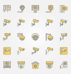 cctv colored icons set camera creative vector image