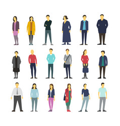 neatly people standing flat design large vector image